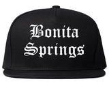 Bonita Springs Florida FL Old English Mens Snapback Hat Black