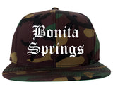 Bonita Springs Florida FL Old English Mens Snapback Hat Army Camo