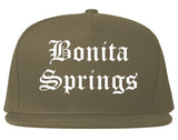 Bonita Springs Florida FL Old English Mens Snapback Hat Grey