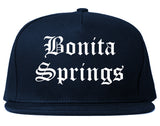 Bonita Springs Florida FL Old English Mens Snapback Hat Navy Blue