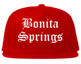 Bonita Springs Florida FL Old English Mens Snapback Hat Red