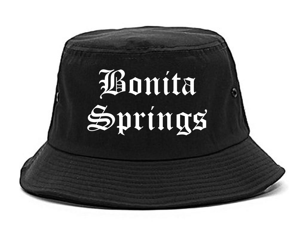 Bonita Springs Florida FL Old English Mens Bucket Hat Black