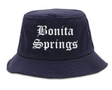 Bonita Springs Florida FL Old English Mens Bucket Hat Navy Blue