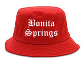 Bonita Springs Florida FL Old English Mens Bucket Hat Red