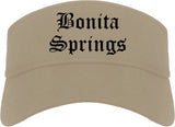Bonita Springs Florida FL Old English Mens Visor Cap Hat Khaki