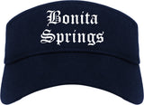 Bonita Springs Florida FL Old English Mens Visor Cap Hat Navy Blue