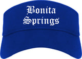 Bonita Springs Florida FL Old English Mens Visor Cap Hat Royal Blue