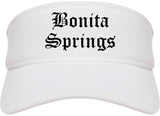 Bonita Springs Florida FL Old English Mens Visor Cap Hat White