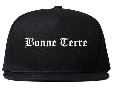 Bonne Terre Missouri MO Old English Mens Snapback Hat Black