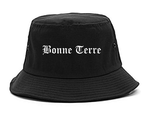 Bonne Terre Missouri MO Old English Mens Bucket Hat Black