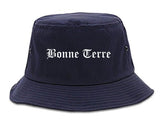 Bonne Terre Missouri MO Old English Mens Bucket Hat Navy Blue