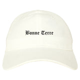 Bonne Terre Missouri MO Old English Mens Dad Hat Baseball Cap White