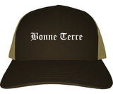 Bonne Terre Missouri MO Old English Mens Trucker Hat Cap Brown
