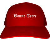 Bonne Terre Missouri MO Old English Mens Trucker Hat Cap Red