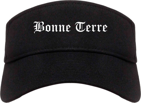 Bonne Terre Missouri MO Old English Mens Visor Cap Hat Black