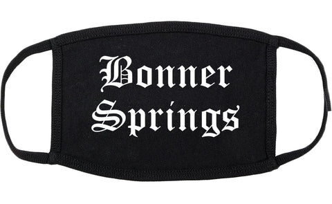Bonner Springs Kansas KS Old English Cotton Face Mask Black
