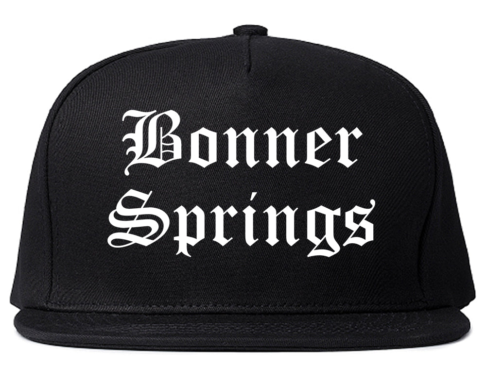 Bonner Springs Kansas KS Old English Mens Snapback Hat Black