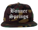 Bonner Springs Kansas KS Old English Mens Snapback Hat Army Camo