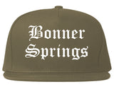 Bonner Springs Kansas KS Old English Mens Snapback Hat Grey