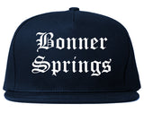 Bonner Springs Kansas KS Old English Mens Snapback Hat Navy Blue
