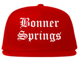 Bonner Springs Kansas KS Old English Mens Snapback Hat Red