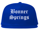 Bonner Springs Kansas KS Old English Mens Snapback Hat Royal Blue