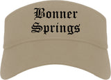 Bonner Springs Kansas KS Old English Mens Visor Cap Hat Khaki