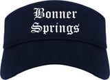 Bonner Springs Kansas KS Old English Mens Visor Cap Hat Navy Blue
