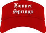 Bonner Springs Kansas KS Old English Mens Visor Cap Hat Red