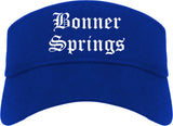Bonner Springs Kansas KS Old English Mens Visor Cap Hat Royal Blue
