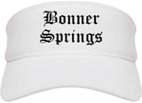 Bonner Springs Kansas KS Old English Mens Visor Cap Hat White