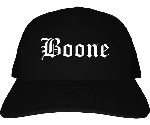 Boone Iowa IA Old English Mens Trucker Hat Cap Black
