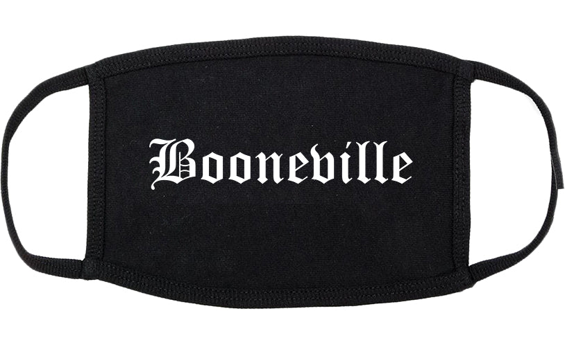 Booneville Mississippi MS Old English Cotton Face Mask Black