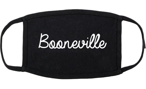 Booneville Mississippi MS Script Cotton Face Mask Black