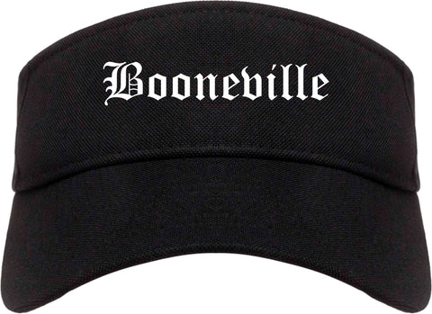 Booneville Mississippi MS Old English Mens Visor Cap Hat Black
