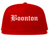 Boonton New Jersey NJ Old English Mens Snapback Hat Red