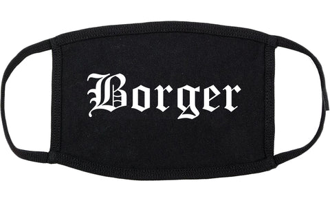 Borger Texas TX Old English Cotton Face Mask Black