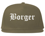 Borger Texas TX Old English Mens Snapback Hat Grey
