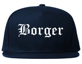 Borger Texas TX Old English Mens Snapback Hat Navy Blue
