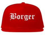 Borger Texas TX Old English Mens Snapback Hat Red