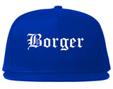 Borger Texas TX Old English Mens Snapback Hat Royal Blue