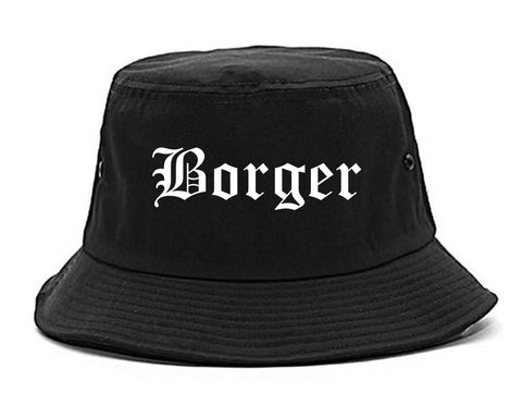 Borger Texas TX Old English Mens Bucket Hat Black