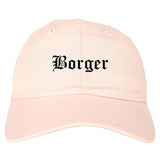 Borger Texas TX Old English Mens Dad Hat Baseball Cap Pink