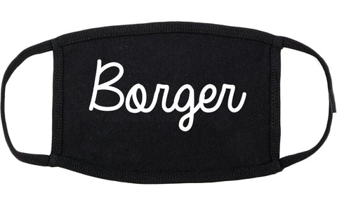 Borger Texas TX Script Cotton Face Mask Black