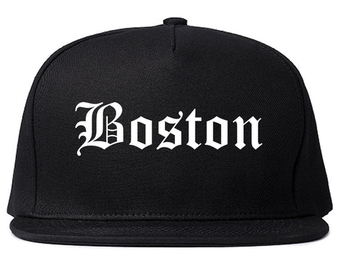 Boston Massachusetts MA Old English Mens Snapback Hat Black