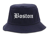 Boston Massachusetts MA Old English Mens Bucket Hat Navy Blue
