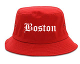 Boston Massachusetts MA Old English Mens Bucket Hat Red