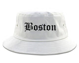 Boston Massachusetts MA Old English Mens Bucket Hat White