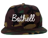Bothell Washington WA Script Mens Snapback Hat Army Camo