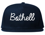 Bothell Washington WA Script Mens Snapback Hat Navy Blue